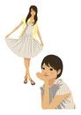 生活を楽しむ私服の女性(線なし)