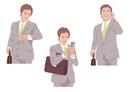 カバンを持ちながら腕時計で時間確認をして携帯電話をする男性
