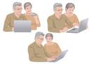 ネットで買い物をするシニアの夫婦