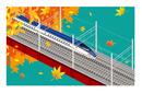 E7系北陸新幹線 秋 鉄橋の風景