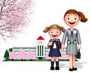 桜の校舎をバックに一年生の女の子と母