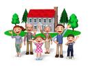三世代家族と赤い屋根の家