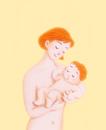母親に抱かれる赤ちゃん