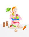 キッチンの若い女性