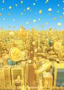 ビルの街とコイン、金
