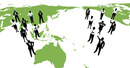 シルエット人物のビジネスイメージと世界