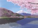 河口湖から望む桜と富士山