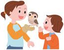 フクロウを手に乗せる子供