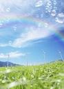 風力発電機と虹とシャボン玉