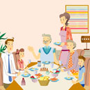 Three generational family  at table