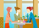 Women sitting and talking in coffee shop