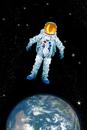 Digitally Generated Image, Illustration Technique, Astronaut, Digital Composite, Planet Earth, Universe