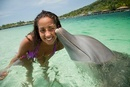 Young woman smiling with dolphin in sea