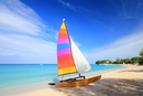 Sailboat on beach, Barbados, Caribbean