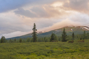 View of forests and mountains at dawn, Ural mountains, Russia