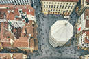 Overhead view of tourists and Baptistery of St John, Florence, Italy