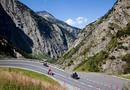 Bikers crossing Alpine, Gotthard Pass, Ticino, Switzerland