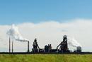 Vapor clouds from foundry, IJmuiden, Noord-Holland, Netherlands