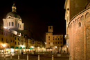 Mantua commune, illuminated at night, Lombardy, Italy