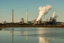 Vapor clouds from steel foundry, Wijk aan Zee, North Holland, Netherlands