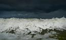 Stormy sky and crashing ocean waves, Domburg, Zeeland, Netherlands