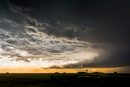 Sunset between the storms over the National Weather Service office after a day of tornadoes, Dodge City, Kansas