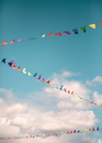 Colourful bunting against blue sky