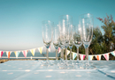 Champagne flutes on table at party