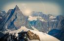 Climbers on snow covered mountain peak, Matterhorn, Zermatt, Switzerland