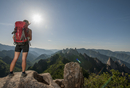Female hiker enjoying view from ridge at Seoraksan National park, Gangwon, South Korea