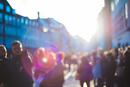 Blurred crowds on sunlit street, Copenhagen, Denmark