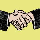 Illustration of businessmen shaking hands against yellow background