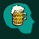 Illustration of pint glass of beer in human head against green background