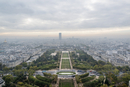 Aerial view of Paris taken from the Eiffel Tower on a cloudy day