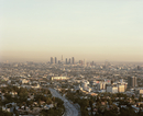View from Mulholland Drive of cityscape against sky, Los Angeles, California, USA