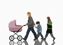 Illustrative image of woman with two children and stroller walking on white background