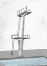 Illustrative image of man standing on diving board prepares to dive into swimming pool