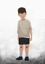 Illustrative image of boy with bleeding knees and nose over white background