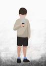Illustrative image of boy holding flashlight to face over white background