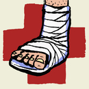 Illustration of leg with bandage and plus sign against white background