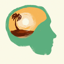 Illustration of human head against white background representing vacation concept