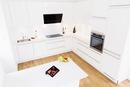 High angle view of modern white kitchen design