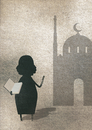Illustration of woman showing Koran while standing outside mosque