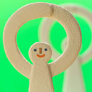手を上げて丸を作る2人の人 クラフト