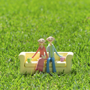 草原でソファーに座るカップル クラフト