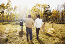 African family walking in sunlight