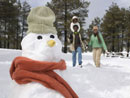 Snowman with African family in background