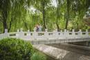 Caucasian couple standing on bridge