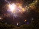 Caucasian man reaching towards light in starry night sky