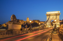 Blurred view of traffic on bridge, Budapest, Hungary